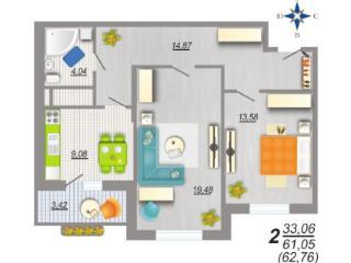 Продажа квартир: 2-комнатная квартира, Воронеж, ул. Шишкова, 140б, фото 1