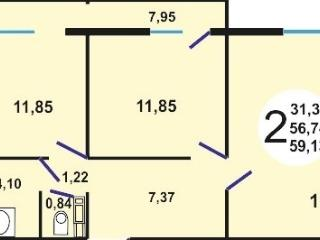 Продам 2-комнатную квартиру, блочный, общая площадь 60 м?, у.