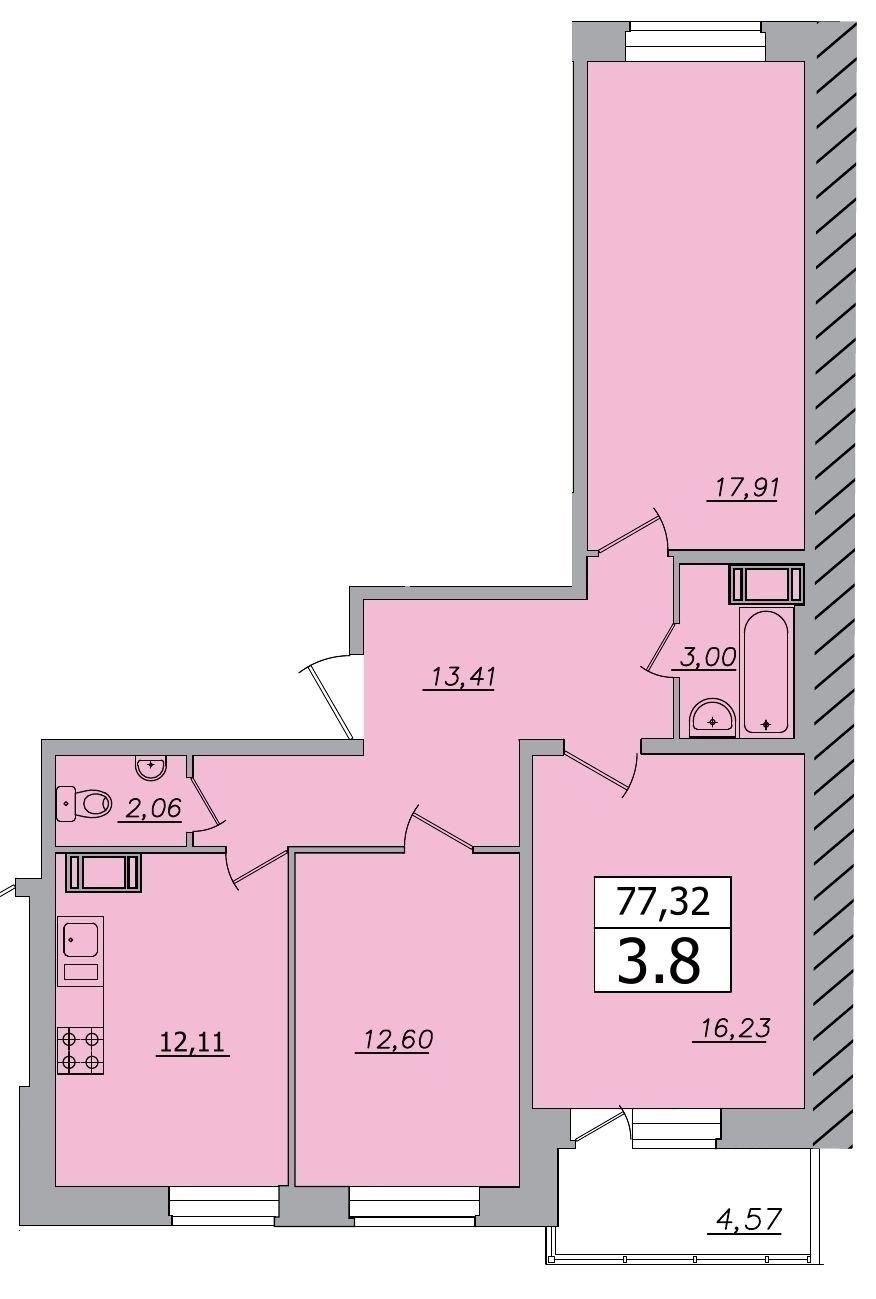 Продажа квартир: 3-комнатная квартира в новостройке, Ленинградская область, Всеволожский р-н, д. Кудрово, Пражская ул., 20, фото 1